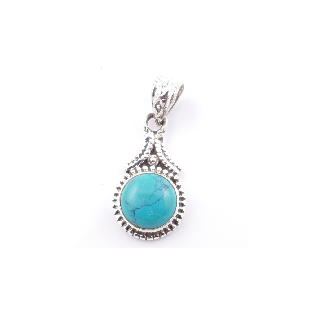 58705-07 SILVER 925 PENDANT 25 X 14 MM WITH TURQUOISE STONE