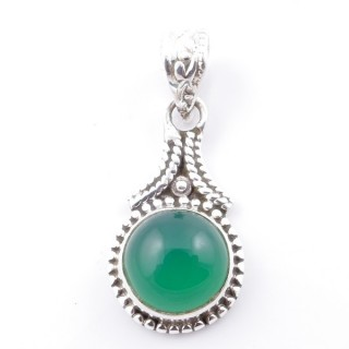 58705-16 SILVER 925 PENDANT 25 X 14 MM WITH GREEN AVENTURINE STONE