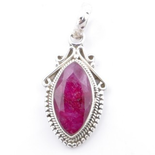58706-09 SILVER 925 PENDANT 30 X 14 MM WITH FACETED RUBY STONE