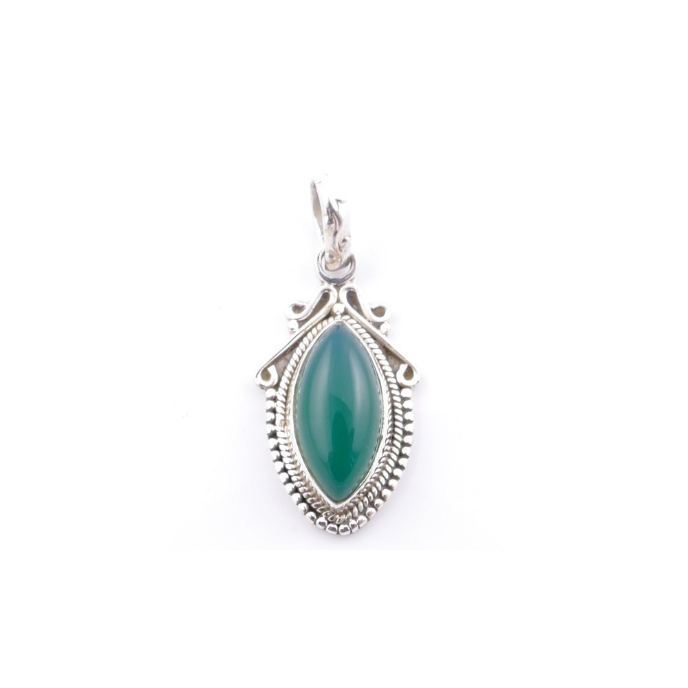 58706-16 SILVER 925 PENDANT 30 X 14 MM WITH GREEN AVENTURINE STONE