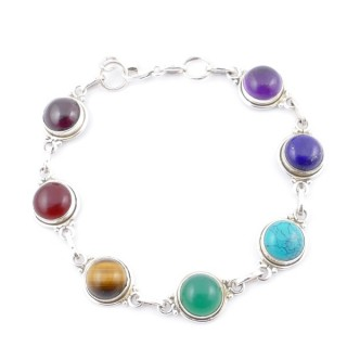 58900 STERLING SILVER 11 MM X 19 CM LONG 7 CHAKRA STONE BRACELET