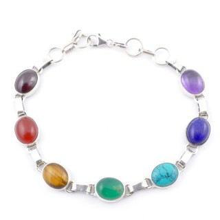 58901 STERLING SILVER 9 MM X 19 CM LONG 7 CHAKRA STONE BRACELET