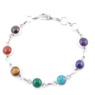 58902 STERLING SILVER 8 MM X 19 CM LONG 7 CHAKRA STONE BRACELET