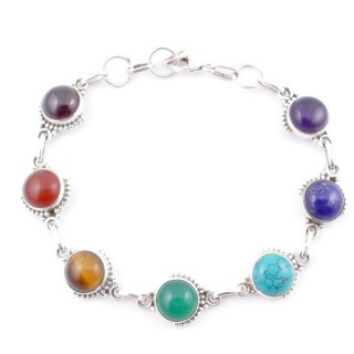 58903 STERLING SILVER 11 MM X 19 CM LONG 7 CHAKRA STONE BRACELET