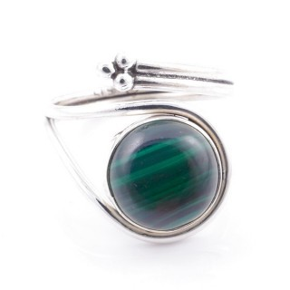 58601-10 SILVER 925 ADJUSTABLE 17 X 15 MM RING WITH STONE IN MALACHITE