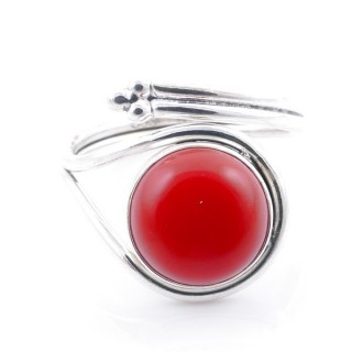 58601-17 SILVER 925 ADJUSTABLE 17 X 15 MM RING WITH STONE IN SYNTHETIC CORAL