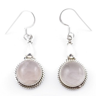 58500-01 SILVER FISH HOOK 24 X 13 MM EARRING WITH STONE IN ROSE QUARTZ