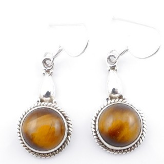 58500-11 SILVER FISH HOOK 24 X 13 MM EARRING WITH STONE IN TIGER'S EYE