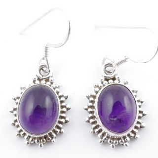 58501-06 SILVER FISH HOOK 18 X 13 MM EARRING WITH STONE IN AMETHYST