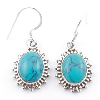 58501-07 SILVER FISH HOOK 18 X 13 MM EARRING WITH STONE IN TURQUOISE