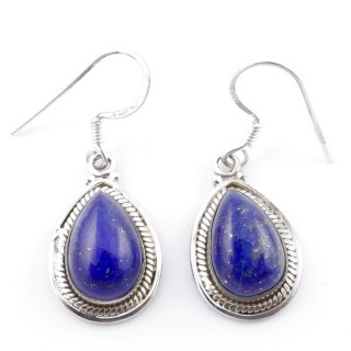 58502-02 SILVER FISH HOOK 21 X 13 MM EARRING WITH STONE IN LAPIS LAZULI