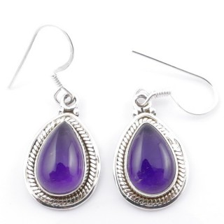 58502-06 SILVER FISH HOOK 21 X 13 MM EARRING WITH STONE IN AMETHYST