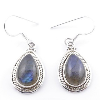 58502-08 SILVER FISH HOOK 21 X 13 MM EARRING WITH STONE IN LABRADORITE