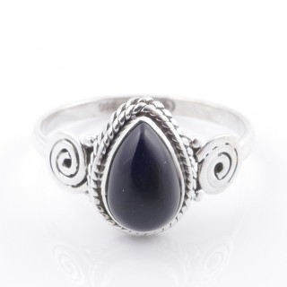 58605-18 STERLING SILVER 12 X 9 MM RING WITH ONYX SIZE 18