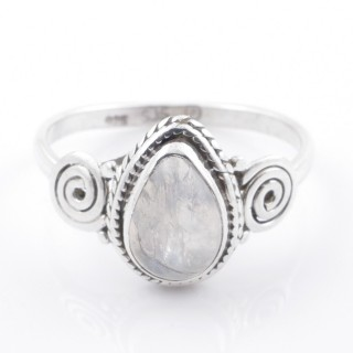 58606-18 STERLING SILVER 12 X 9 MM RING WITH MOONSTONE SIZE 18