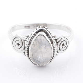 58606-19 STERLING SILVER 12 X 9 MM RING WITH MOONSTONE SIZE 19