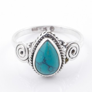 58608-18 STERLING SILVER 12 X 9 MM RING WITH TURQUOISE SIZE 18