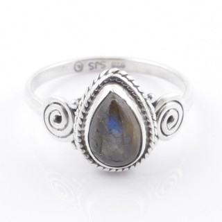 58609-17 STERLING SILVER 12 X 9 MM RING WITH LABRADORITE SIZE 17