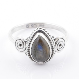 58609-18 STERLING SILVER 12 X 9 MM RING WITH LABRADORITE SIZE 18