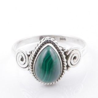 58610-17 STERLING SILVER 12 X 9 MM RING WITH MALACHITE SIZE 17