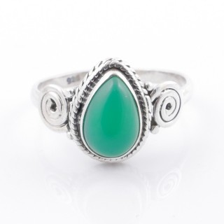 58612-17 STERLING SILVER 12 X 9 MM RING WITH GREEN AVENTURINE SIZE 17