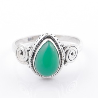 58612-18 STERLING SILVER 12 X 9 MM RING WITH GREEN AVENTURINE SIZE 18