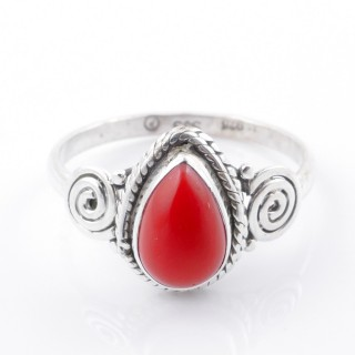 58613-18 STERLING SILVER 12 X 9 MM RING WITH SYNTHETIC CORAL SIZE 18