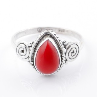 58613-19 STERLING SILVER 12 X 9 MM RING WITH SYNTHETIC CORAL SIZE 19