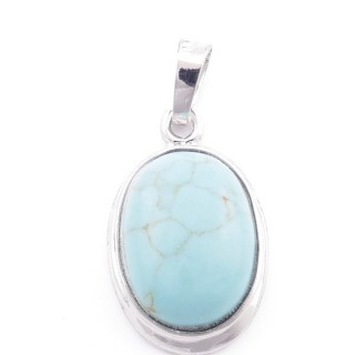 38509-03 OVAL FASHION JEWELRY METAL PENDANT WITH TURQUOISE 26 X 17 MM STONE