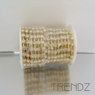 18947 9 METER ROLL OF SS 20 STRASS IN GOLD
