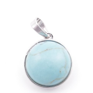 38510-03 ROUND FASHION JEWELRY METAL PENDANT WITH TURQUOISE 18 MM STONE