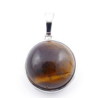 38510-09 ROUND FASHION JEWELRY METAL PENDANT WITH TIGER'S EYE 18 MM STONE