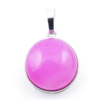 38510-29 ROUND FASHION JEWELRY METAL PENDANT WITH AGATE 18 MM STONE