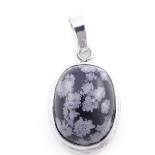 38509-24 OVAL FASHION JEWELRY METAL PENDANT WITH SNOWFLAKE OBSIDIAN 26 X 17 MM STONE