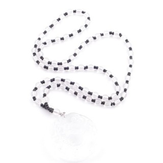 38550-52 60 CM LONG GLASS BEAD NECKLACE WITH APROXIMATELY 4-6 CM AMULET
