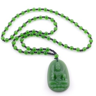 38550-34 60 CM LONG GLASS BEAD NECKLACE WITH APROXIMATELY 4-6 CM AMULET