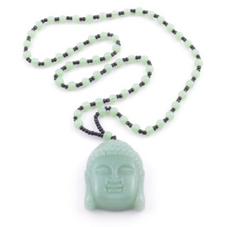 38550-28 60 CM LONG GLASS BEAD NECKLACE WITH APROXIMATELY 4-6 CM AMULET