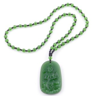 38550-07 60 CM LONG GLASS BEAD NECKLACE WITH APROXIMATELY 4-6 CM AMULET