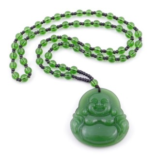 38550-03 60 CM LONG GLASS BEAD NECKLACE WITH APROXIMATELY 4-6 CM AMULET