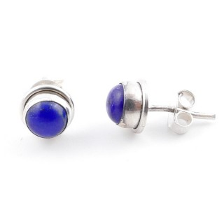 58503-02 SILVER 925 7 MM POST EARRINGS WITH LAPIS LAZULI