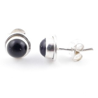 58503-04 SILVER 925 7 MM POST EARRINGS WITH ONYX