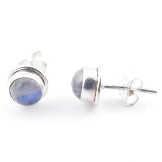 58503-05 SILVER 925 7 MM POST EARRINGS WITH MOONSTONE