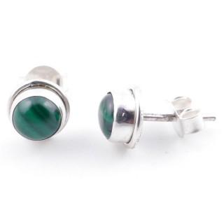 58503-10 SILVER 925 7 MM POST EARRINGS WITH MALACHITE