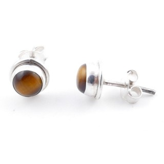 58503-11 SILVER 925 7 MM POST EARRINGS WITH TIGER'S EYE