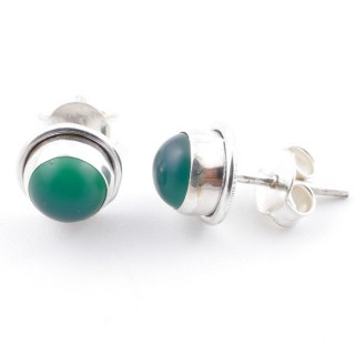 58503-16 SILVER 925 7 MM POST EARRINGS WITH GREEN AVENTURINE