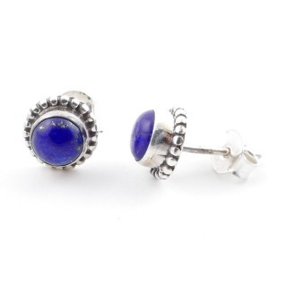58504-02 SILVER 925 7 MM POST EARRINGS WITH LAPIS LAZULI