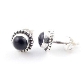 58504-04 SILVER 925 7 MM POST EARRINGS WITH ONYX