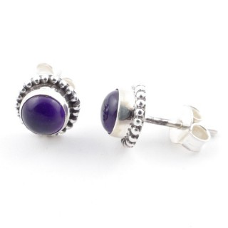 58504-06 SILVER 925 7 MM POST EARRINGS WITH AMETHYST