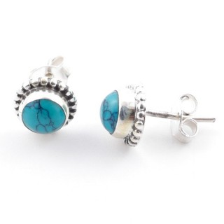 58504-07 SILVER 925 7 MM POST EARRINGS WITH TURQUOISE