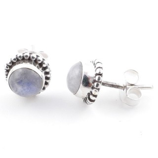 58504-05 SILVER 925 7 MM POST EARRINGS WITH MOONSTONE